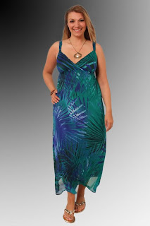 Palm Print Chiffon Maxi Dress