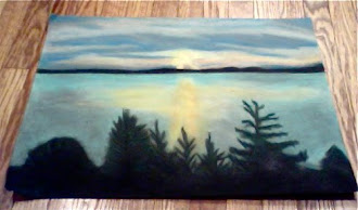 Chalk pastel drawing I made of the sun setting over the water