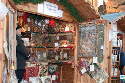 stall selling tapestries
