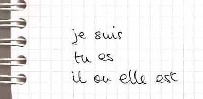 handwritten French verb to be