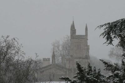 chapel in snow