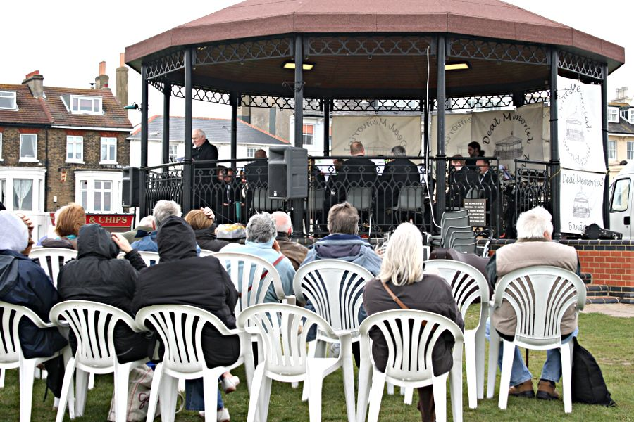 bandstand, band playing, spectators