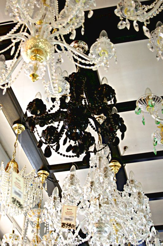 Black glass chandelier in a shop