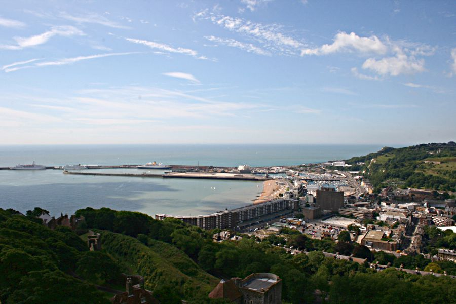 Dover and western docks from the castle