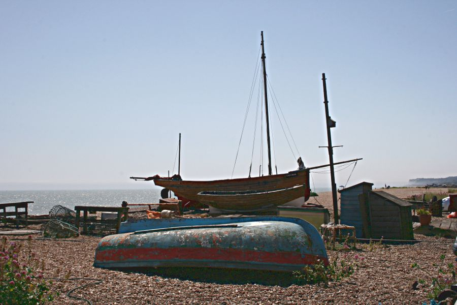 boats on the shingle foreshore