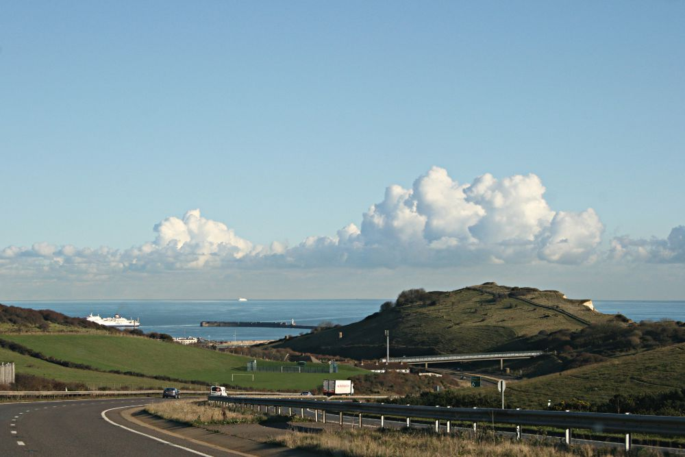 view from road of cliffs and Dover harbour