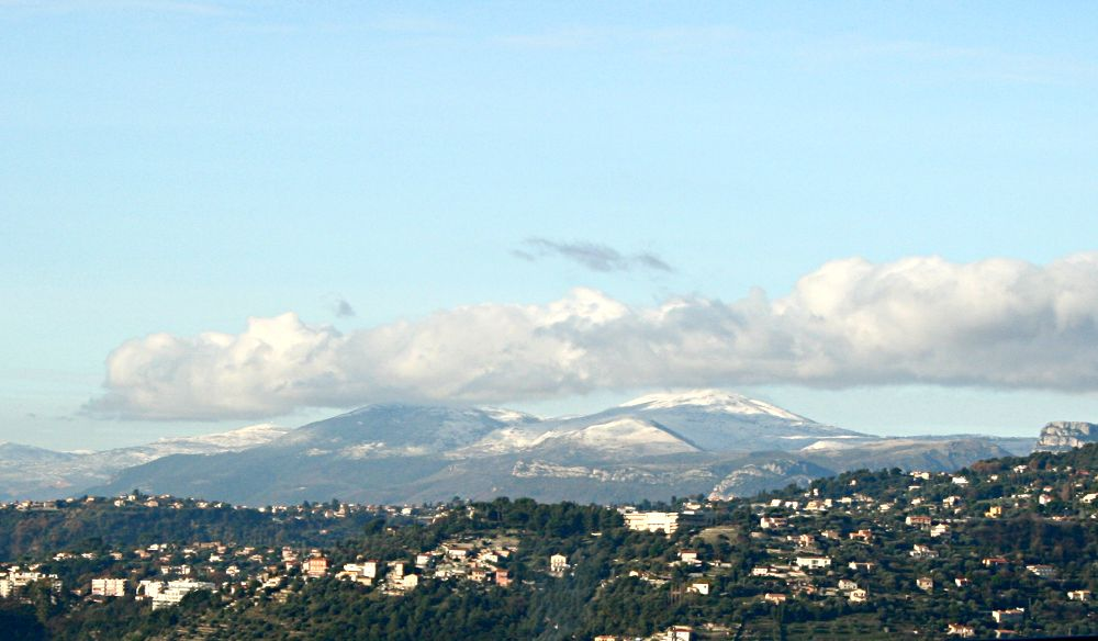 snow on distant mountains