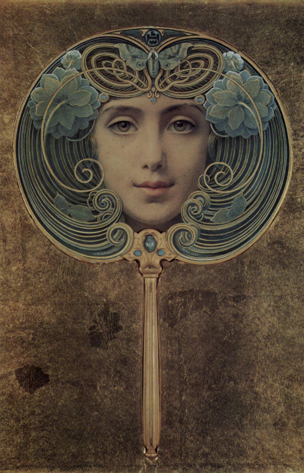 Vintage Ephemera: Art Nouveau Gouache painting by Louis ...
