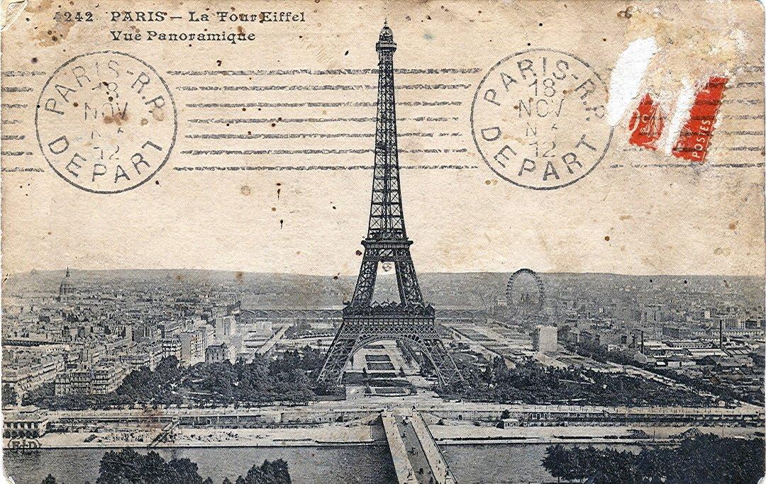 vintage ephemera postcard dated 1912 title paris la tour eiffel panoramic view. Black Bedroom Furniture Sets. Home Design Ideas