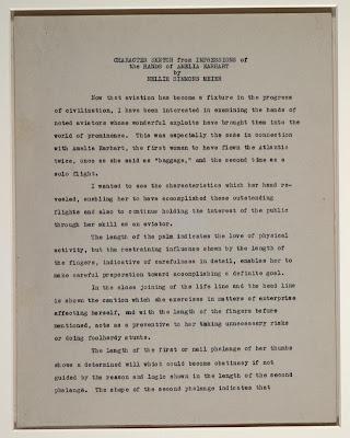 hand print of Amelia Earhart-report