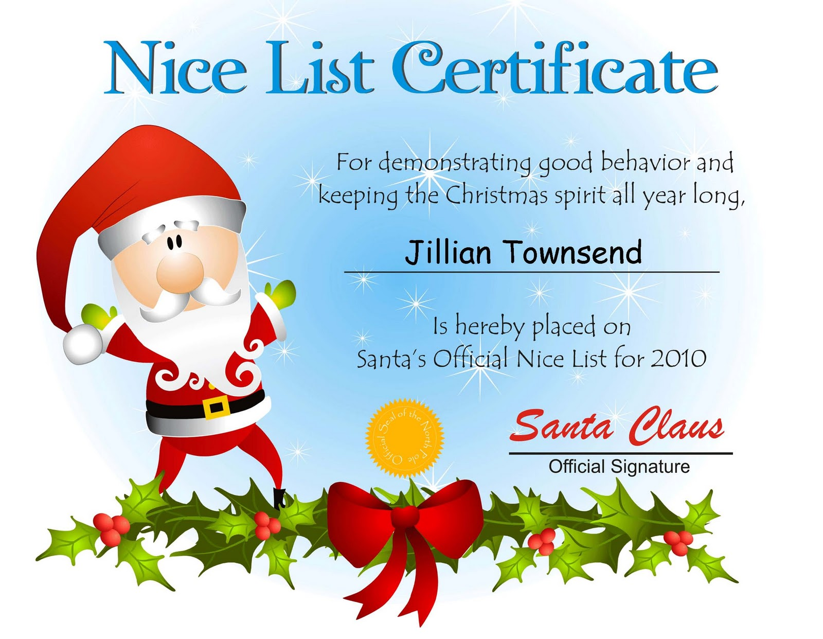 Free Santa Nice List Certificate Template | Search Results | Calendar ...