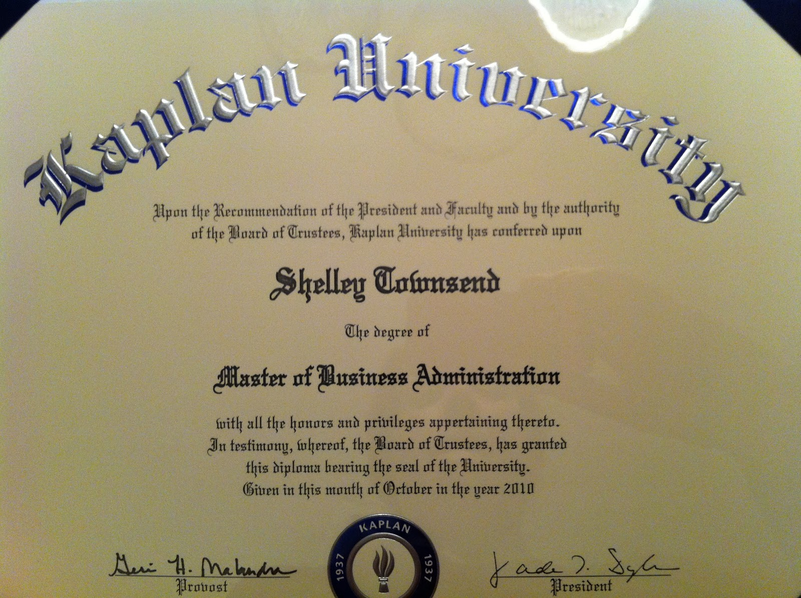 Business Administration order of college degrees