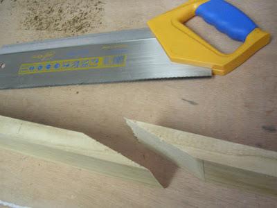 Neck angled sawn with backsaw