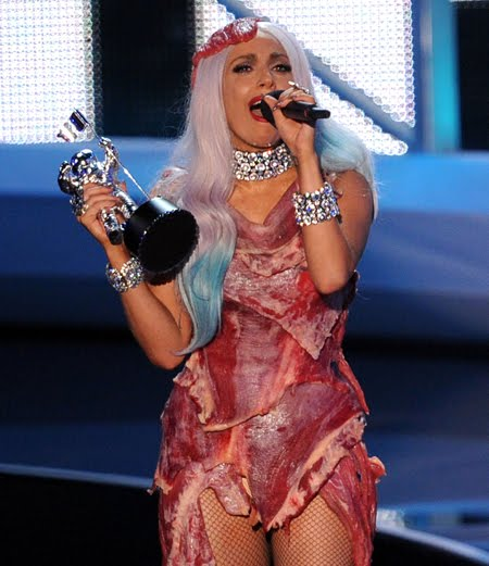 lady gaga meat dress pictures