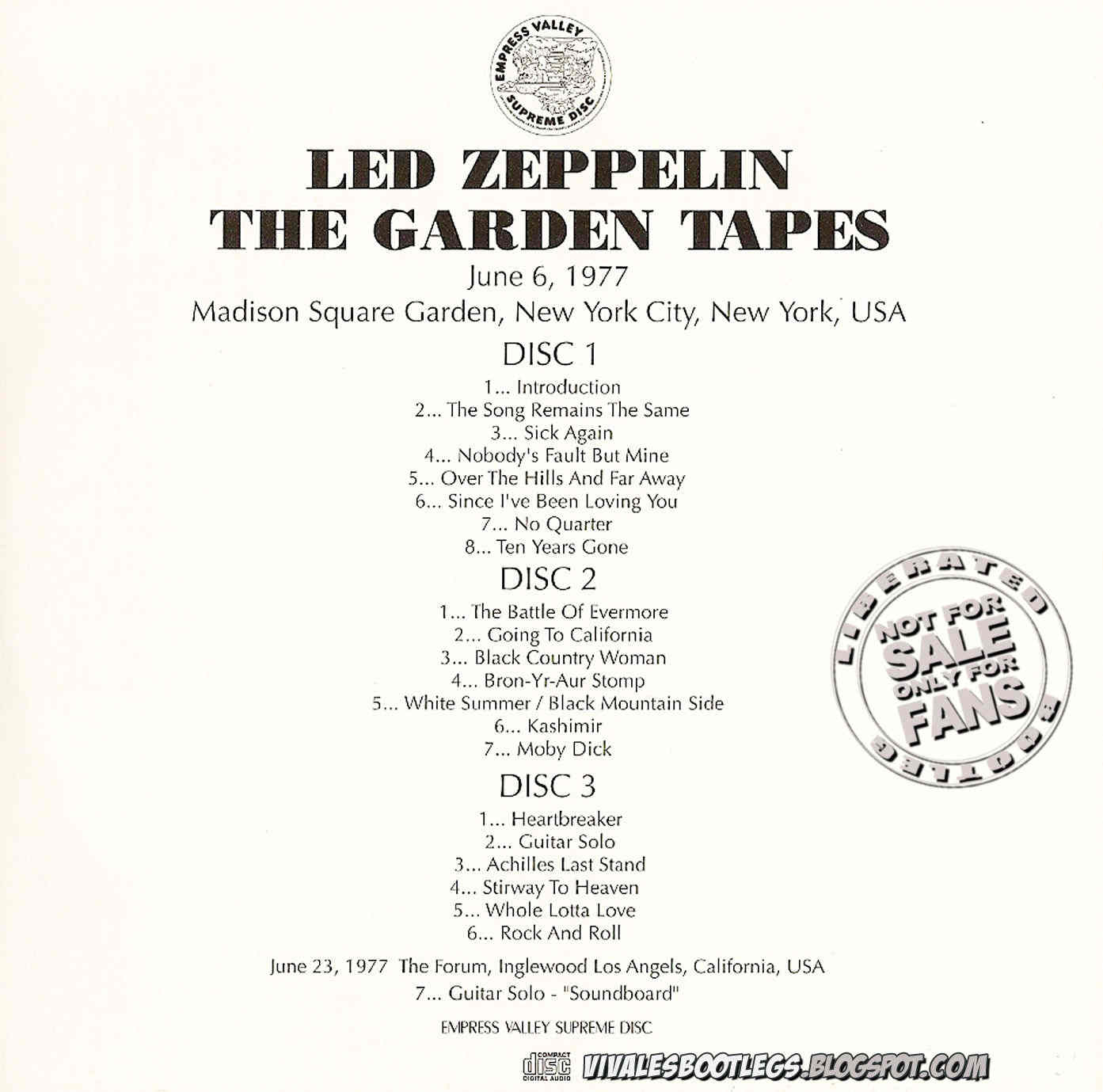 Led Zeppelin The Garden Tapes Madison Square Garden New York Usa June 10 1977 Triple Cd
