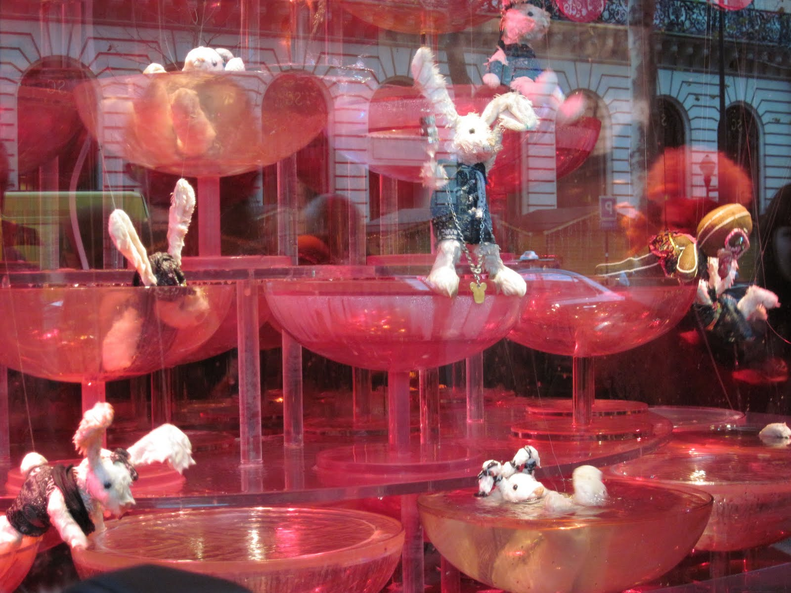 These bunnies playing in the champagne fountain (and splashing, drinking, ...