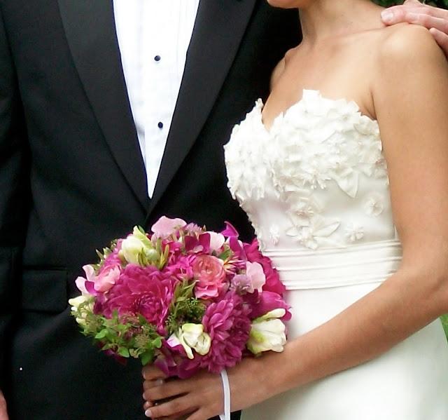 Sweet Pea Floral Design, Ann Arbor wedding, Ann Arbor city club, Bride's Bouquet, Pink, Fuchsia, Dahlia, sweet pea, peonies, mini green luecadendron, parrot tulips, dendrobium orchids, foral, florist, flowers