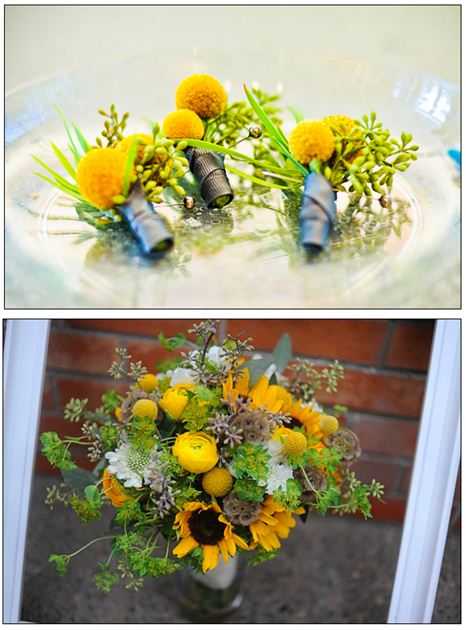 Wedding, Ann Arbor, Botanical Gardens, Nature, Chartreuse, Mustard, ranunculus, seeded eucalyptus, sunflower, Sweet Pea Floral Design, Bride, vintage, DIY, once wed, anthropology, groom, boutonniere, craspedia, modern