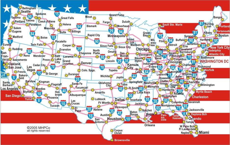Interstate Highway Map Of United States Highway Map Of United - United states map with cities and highways
