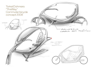 Concept sketches for the ThisWay bike design