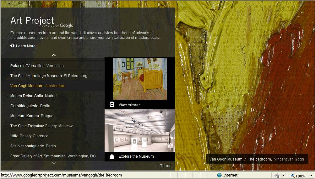 Google art project home page