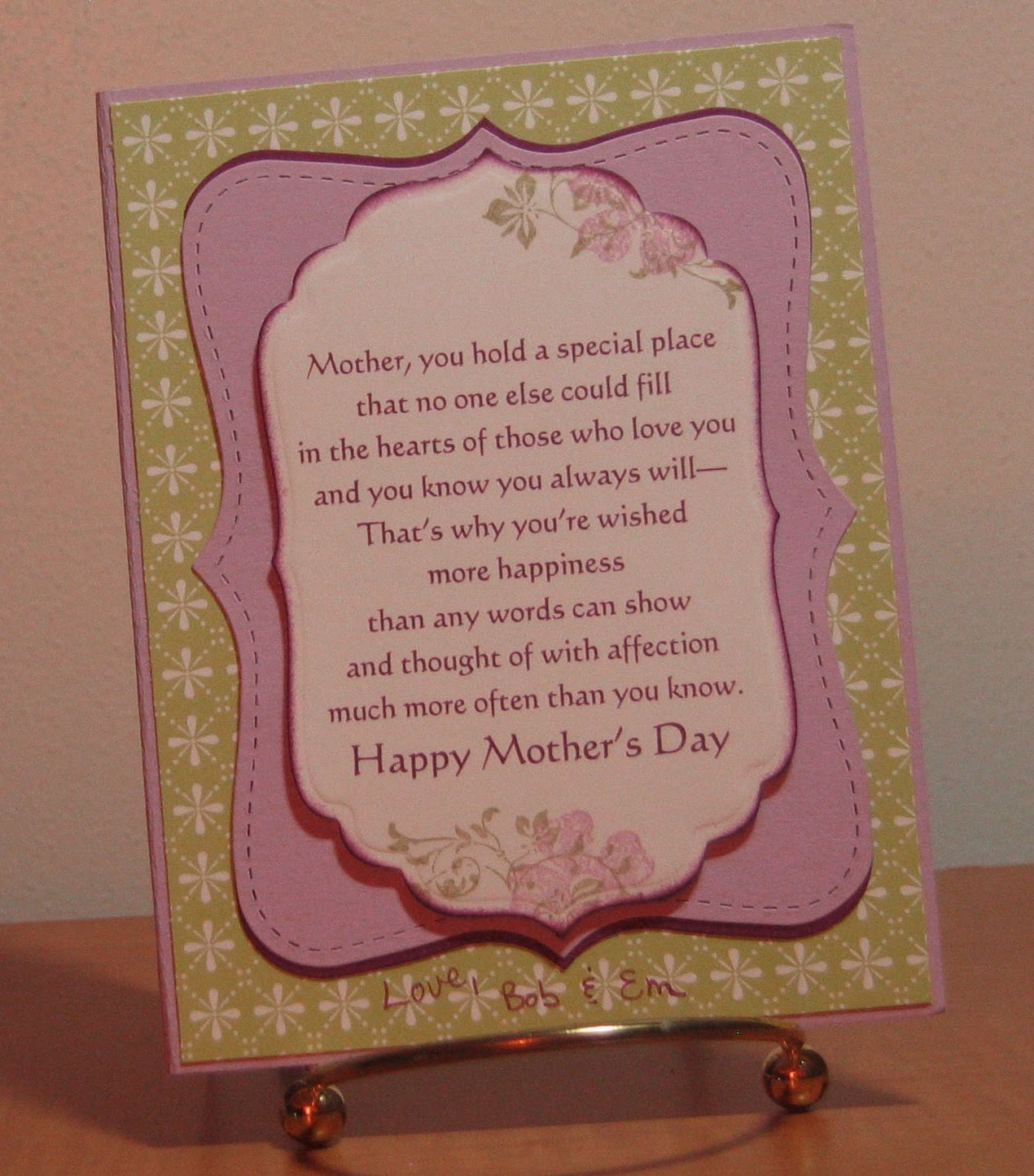 Emilys expressions mothers day card for mother in law mothers day card for mother in law this is a card we did at at recent su stamp a stack put on by jen sannes i love the colors she chose for this card m4hsunfo