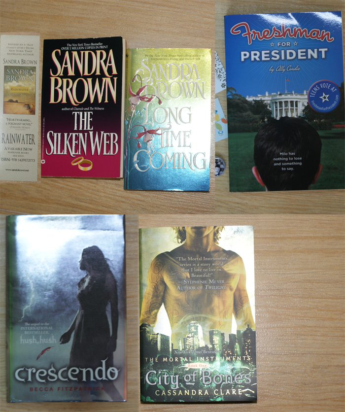 the silken web, long time coming, sandra brown, freshmen for president, ally condie, crescendo, becca fitzpatrick, city of bones, cassandra clare