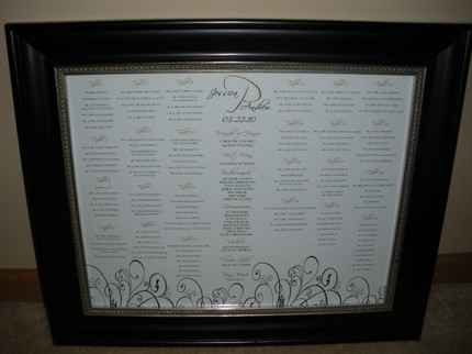 Framed Seating Chart by