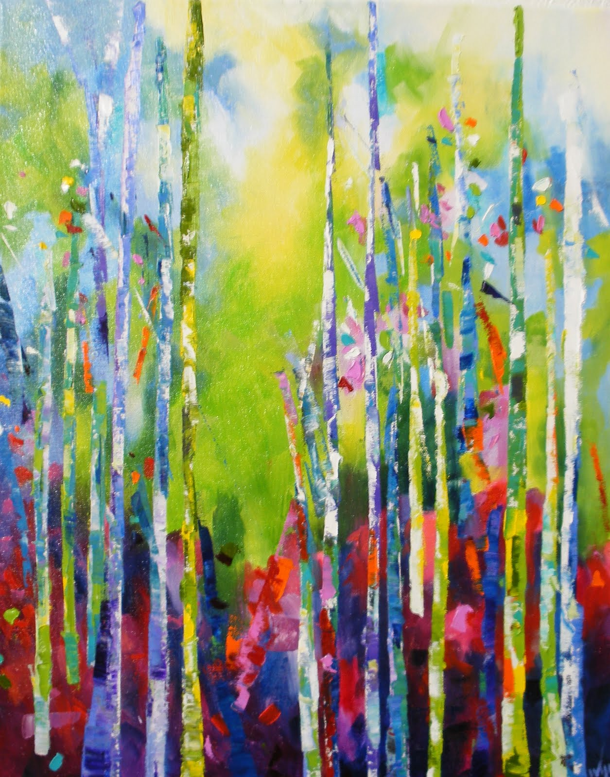 Daily Painters Abstract Gallery: Color My Trees by Kay Wyne