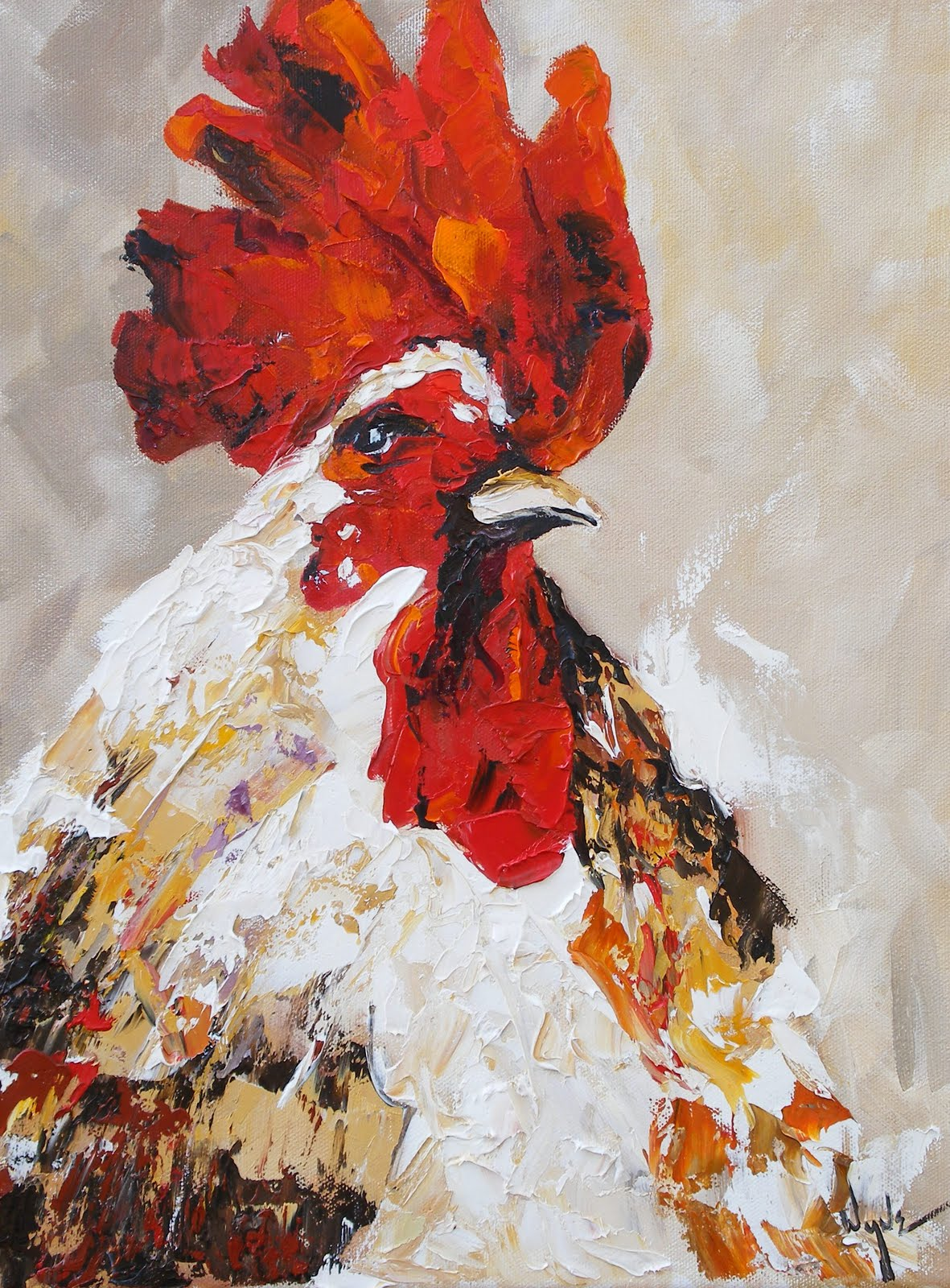 Watercolor artists in texas - Rudy Rooster Palette Knife Painting By Kay