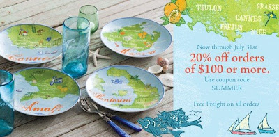 Rosanna Inc. is having a summer sale, with a 20 percent discount on its tableware through July 31. Use the code summer.