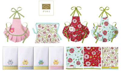 Dena Fishbein designs aprons and guest towels for Peking Handicraft Inc.