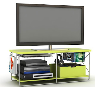 Atlantic's City HDTV furniture in Silver and wild lime