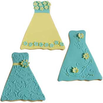 Aqua and Yellow Wedding Dress Cookies