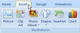 Insert tab PowerPoint 2007