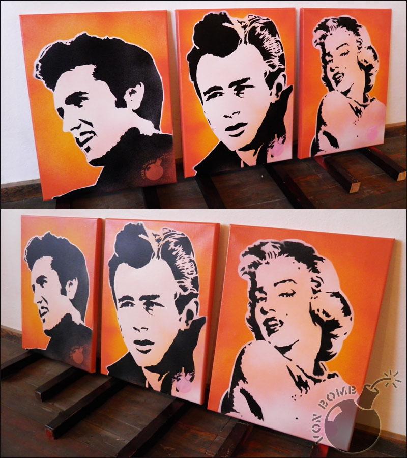 M: Stencil pildid: Elvis, James Dean, Marilyn Monroe 2koosA