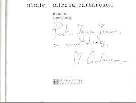 """Autograful lui Mircea Cartarescu pe cartea """"Nimic"""""""