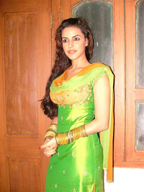 Neha dhupia in Green Orange suit salwaar - HOT