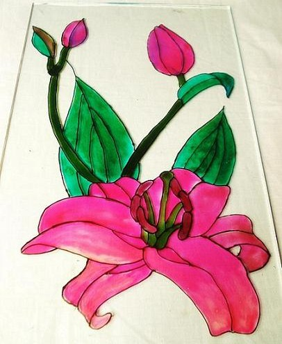 flower designs for glass painting. One of the glass paintings I