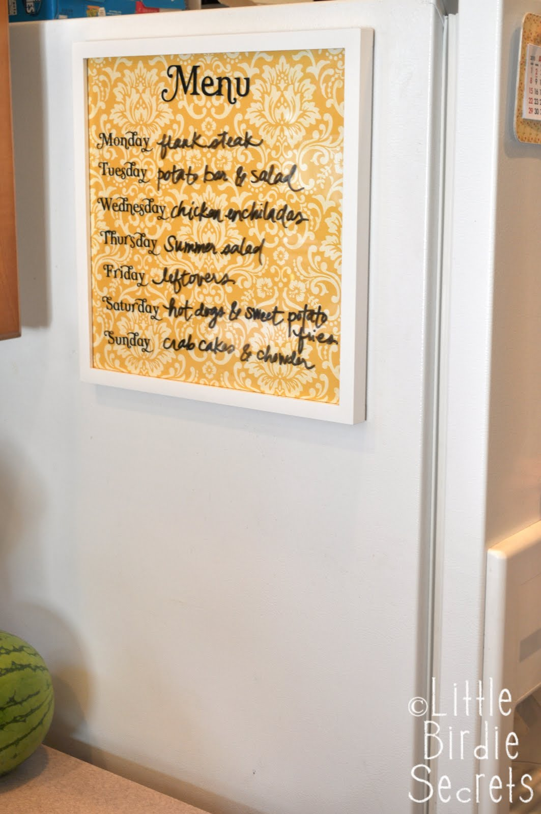 weekly wipe-off menu board \u0026 magnets | Little Birdie Secrets