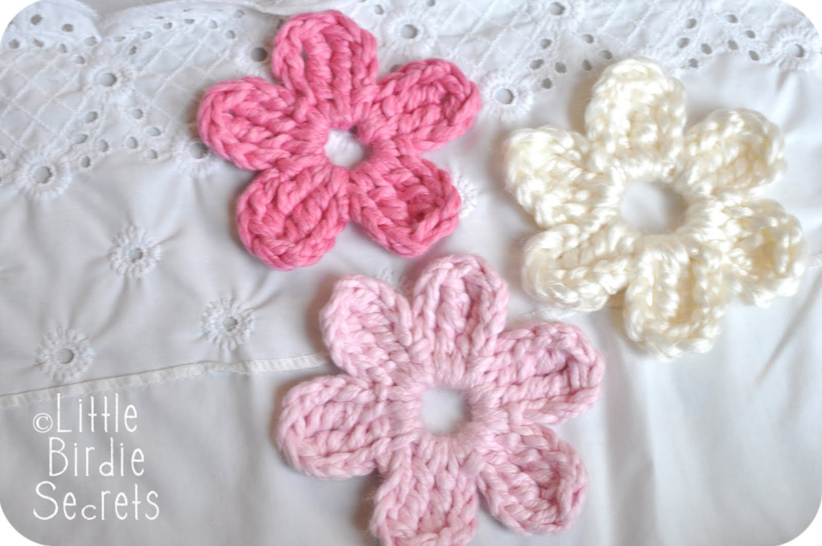 New baby hat and bootie patterns in the shop plus a free flower five or six petal daisy flower crochet pattern bankloansurffo Image collections