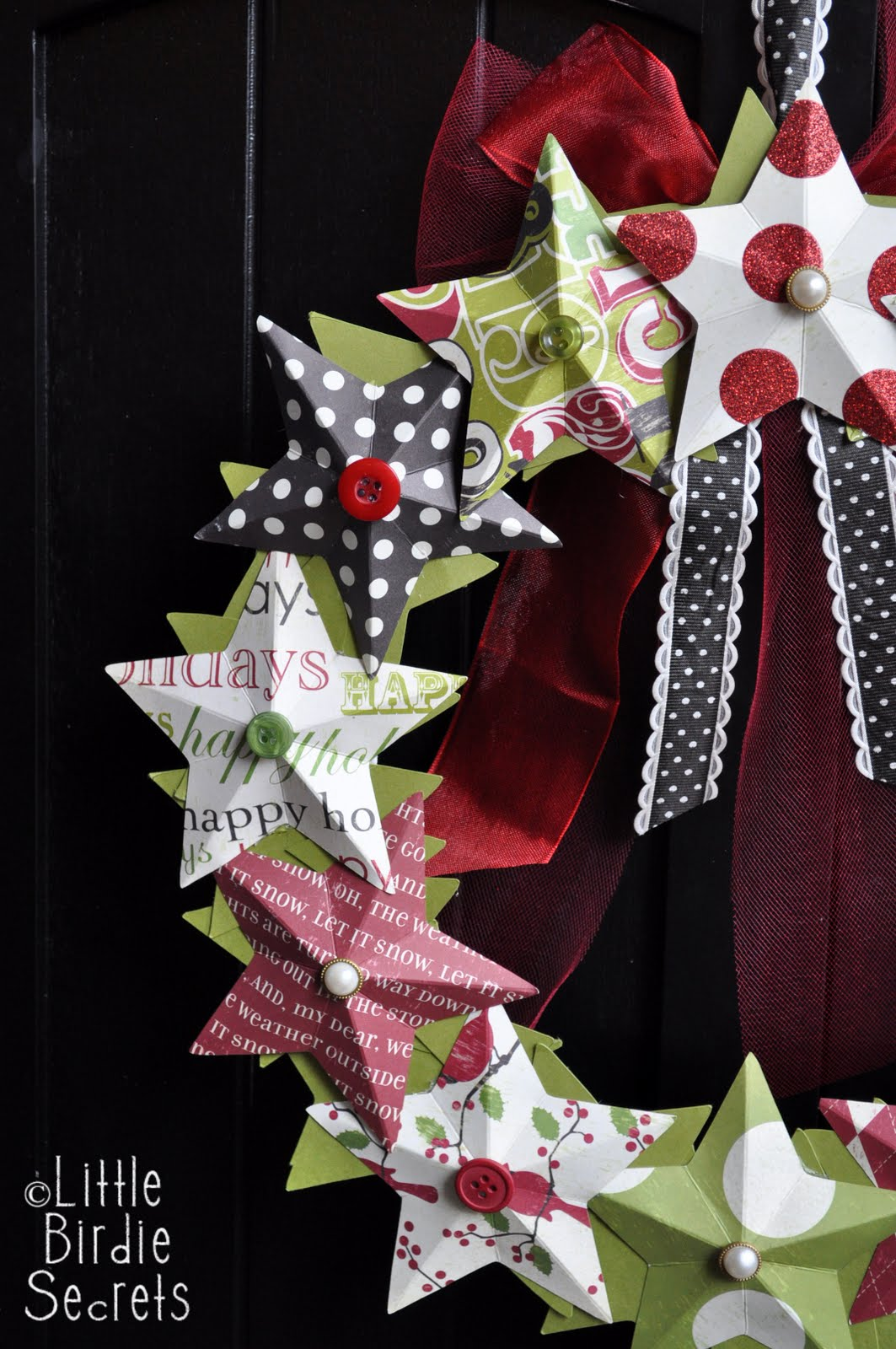 Last minute christmas decorations 3d paper star wreath Christmas wreath decorations