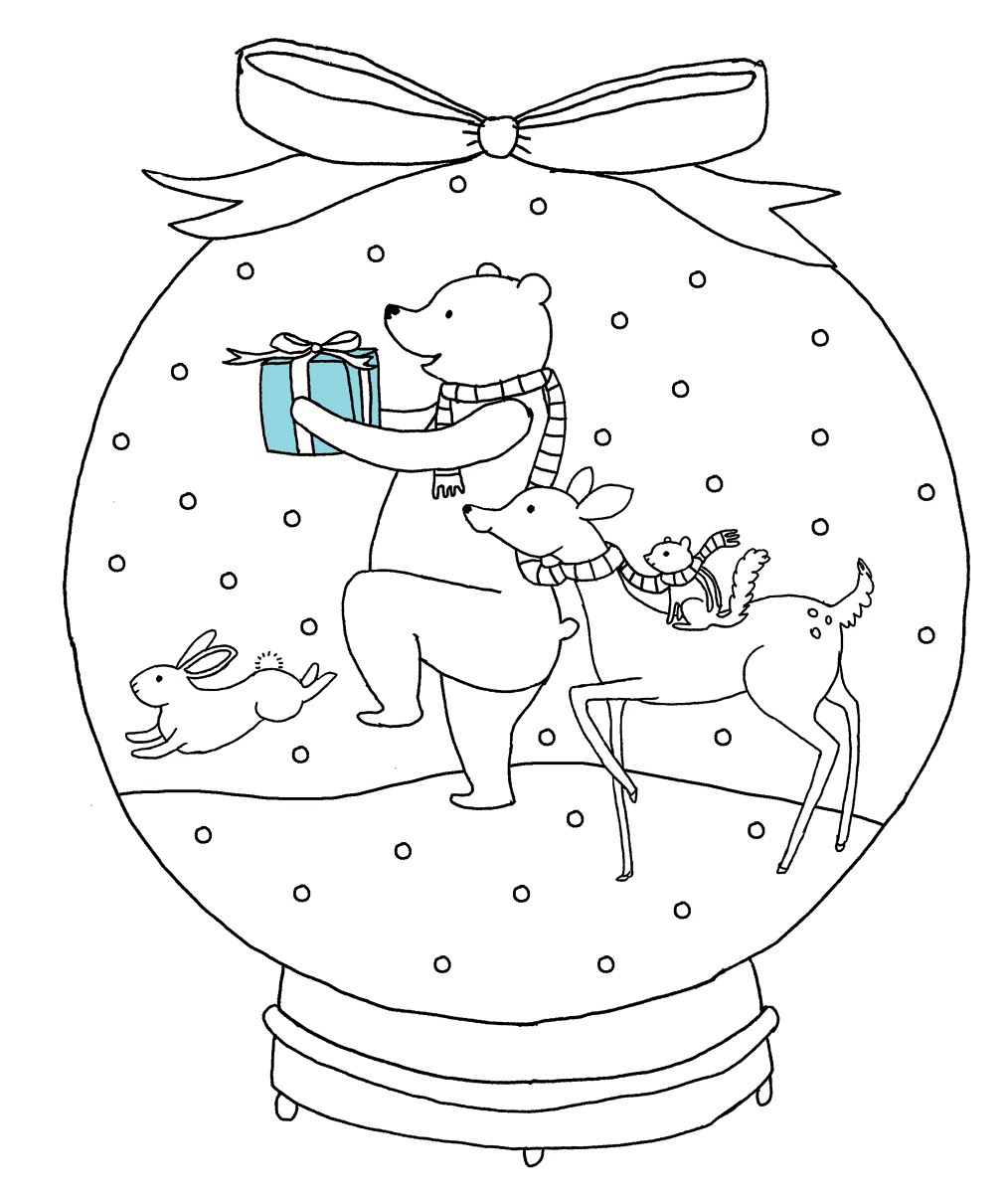 christmas snow globes coloring pages - photo#19