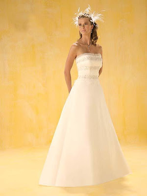 Simple Strapless Wedding Dress Fabric Satin Embellishment Embroidery