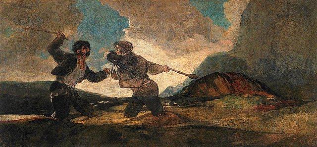A garrotazos de Francisco de Goya, óleo Museo del Prado