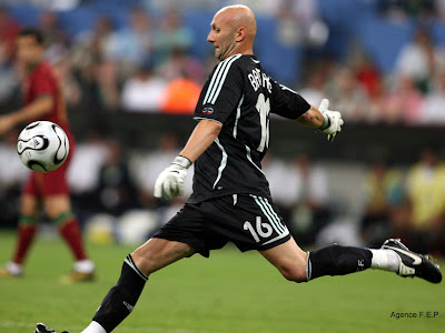Fabien Barthez Hitting A Ball