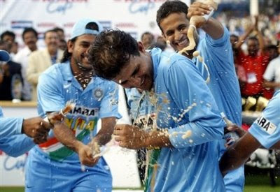 Indian Cricket Team Celebrating with Sourav Ganguly