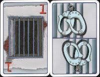 Pouta a karta vězení k označení pořadí při zatýkání