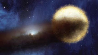 Ilustración de Epsilon Aurigae y disco de polvo