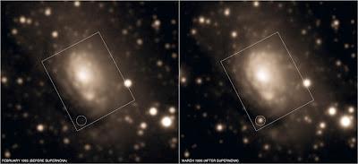 Supernova 1996cr antes y después